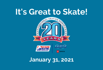 text and logo celebrating 20 years of National Ice Skating Month on a blue background
