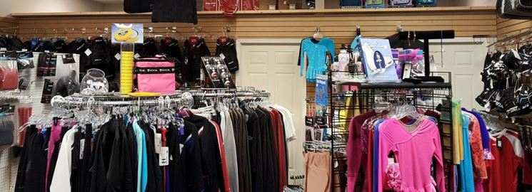Clothing and gear for sale at the Pro Shop